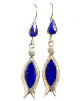 Trendy Earring of Lapis Lazuli Stone with silver Metal