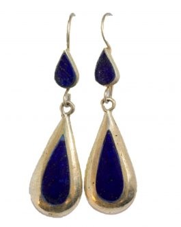 Teardrop earring of Lapis Lazuli Stone With Silver Metal