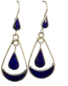 Lapis Lazuli Teardrop earring with Silver Metal