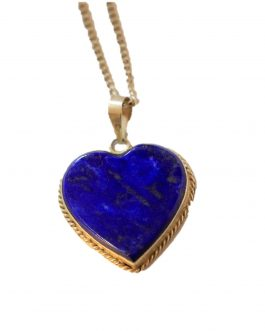 Heart Shaped Pendent of Lapis Lazuli Stone for Women