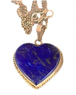 Heart Shaped pendent of Lapis Lazuli Stone with Silver metal