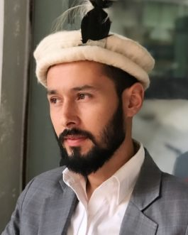 Traditional Gilgiti cap with Shaati Feather, Grooms cap of Gilgit Baltistan